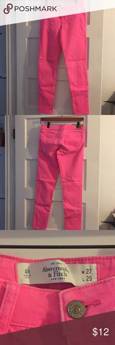 Abercrombie & Fitch Hot Pink Jeans Abercrombie & Fitch size 27 hot pink skinny jeans. Size listed on label as 4R, W27, and L29. Smoke and pet free home. No trades no holds. Abercrombie & Fitch Jeans Skinny