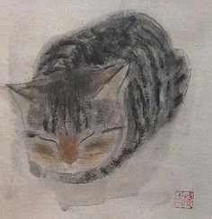 Watercolor Animals, Watercolor And Ink, Japanese Animals, Cat Sketch, Artist Sketchbook, Illustration Art, Illustrations, Cat People, Cat Drawing