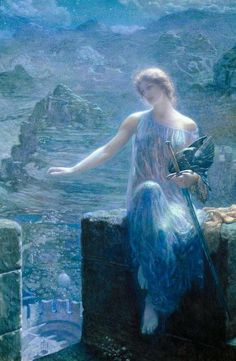 """The Valkyrie's Vigil."" Edward Robert Hughes (1906)    In Norse mythology, Valkyries (also called ""Odin's maidens"") would fly on their horses over battlefields to choose heroic souls of the slain to bring to Valhalla. But if a Viking warrior's soul was considered unworthy, it would be sent to the dismal underground world ruled by the goddess Hel."