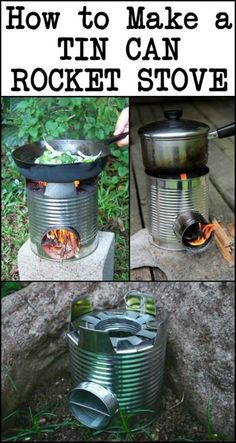 The Steps in Making a Tin Can Rocket Stove Are Very Easy That It's Taught to Boy. The Steps in Making a Tin Can Rocket Stove Are Very Easy That It's Taught to Boy And Girl Scouts! camping projects DIY Portable Tin Can Rocket Stove Camping Survival Life Hacks, Survival Food, Homestead Survival, Wilderness Survival, Camping Survival, Outdoor Survival, Survival Prepping, Survival Skills, Survival Quotes