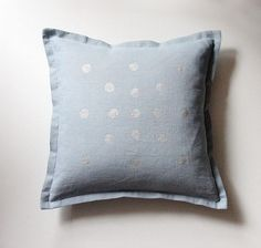 Pale grayish blue pure linen pillow cover with hand painted delicate silver dots. Cozy minimalist accent for modern interior. Handmade by LINENSPACE   www.linenspace.com