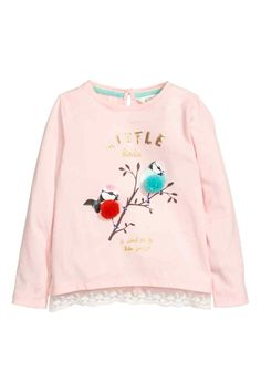 Lace-trimmed jersey top - Pink/Birds - Kids   H&M GB