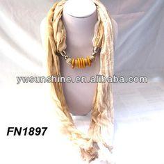 Khaki scarf with beaded,jewelry scarf