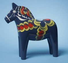 "Carved Wooden Dala Horse (Dalahäst) - Blue - 4"" Tall Nils Olsson Dala Horses  (Dalahäst) - Since 1928 The Premier Dala Horse Workshop -  Swedish National Symbol - The Scandinavian Folk Art - Handcrafted in Nusnäs, Dalarna, Sweden. For this and other Dala Horses shop > www.mygrowingtraditions.com"