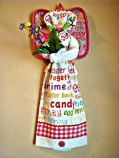 Nothing says Happy Easter like this bright ,pretty kitchen towel angel does. Hang her in your kitchen today!  $12.00