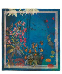 Rohka Teal Pretty Flower Silk Twill Foulard   Accessories   Liberty.co.uk