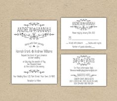 Delightful Vintage Wedding Invitation And RSVP  Printable DIY. Printed Country Chic  (1054)