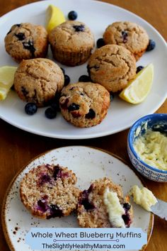 Muffin Recipes, Brunch Recipes, Breakfast Recipes, Bread Recipes, Whole Wheat Blueberry Muffins, Blue Berry Muffins, Fun Easy Recipes, Sweet Recipes, Delicious Recipes