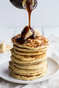 rice krispie treat pancakes with brOwned butter syrup