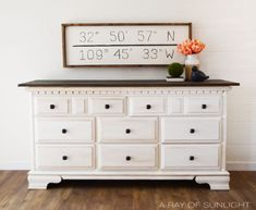 White Glazed Dresser with Rustic Wood Top Painted by A Ray of Sunlight White Rustic Dresser, White Painted Dressers, White Painted Furniture, Rustic White, Rustic Wood, Refurbished Dressers, Dresser Refinish, Diy Dresser Makeover, Furniture Makeover