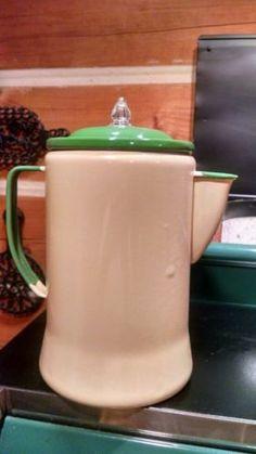 vintage-cream-and-green-enamel-coffee-pot - $85.00.