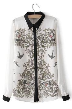 modèle animal transparent en mousseline de soie Loose Fit Shirt - US$19.95…
