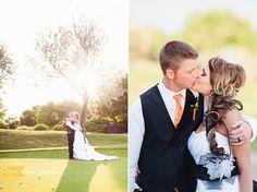 Kansas Wedding Photographer: Golf Course Wedding, Wedding Details, Orange Wedding details, colorful wedding details, colorful wedding flowers,  Bride and Groom Together, Bride, Bridal Portraits, Sunset Photos, Sunset Wedding Photos