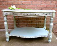 Shabby coffee end table  vintage chalk painted by OverboardStudio, $165.00
