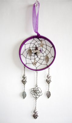 Purple Gemstone Dream-Catcher With Silver Rose Flowers & Leaf Charms Amethyst Rose Quarts Gothic Summer Garden Style Hand Crafted