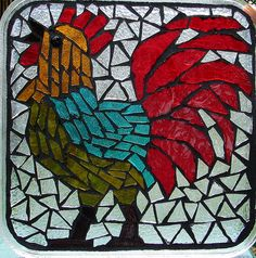 Just finished this rooster, glass on glass, mosaic. Mosaic Glass, Glass Art, Mosaic Patterns, Mosaic Ideas, Diy Table Top, Mosaic Birds, Cool Art, Spiderman, Concrete