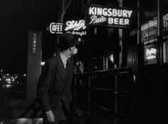 """from Calumet 412: """"Screen shot from Call Northside 777, c.1948.    Here is Jimmy Stewart emerging from a subway station. My guess is that this is around Chicago and State streets.    If you want a great rainy day film-noir to watch, find it and enjoy tons of outside shots of 1940's Chicago."""""""
