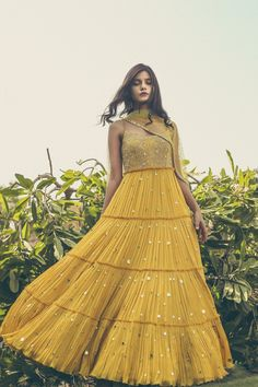 This set features a yellow embellished tiered anarkali with dupatta. Crepe Care: Dry Clean Only Lehenga Designs, Indian Wedding Outfits, Indian Outfits, Bridal Outfits, Indian Designer Outfits, Designer Dresses, Stylish Dresses, Fashion Dresses, Lehnga Dress