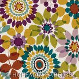 """Summer's End Blooms Napa - Teal and Eggplant - Hoffman Fabrics 