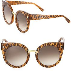 8d9cfe1d41 Stella McCartney 51MM Leopard-Print Rounded Cat Eye Sunglasses (13