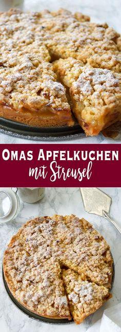 Ein einfach gemachtes, deutsches Traditionsrezept für einen süßen Apfelkuchen mit Streusel. In diesem Rezept für Omas Apfelkuchen findet Ihr zarte Apfelstücke mit knusprigen Streuseln obendrauf. Es ist tatsächlich das Originalrezept von der Oma meiner lie Easy Cheesecake Recipes, Easy Cookie Recipes, Easy Desserts, Easy Dinner Recipes, Baking Recipes, Dessert Recipes, Pie Recipes, Simple Recipes, German Food Recipes