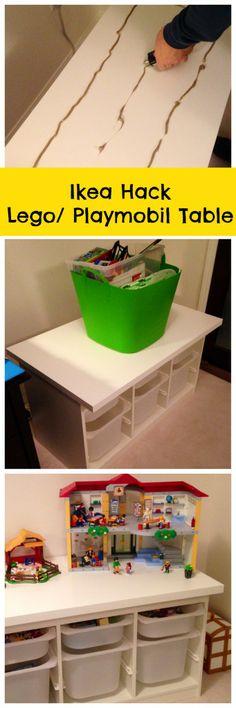Ikea TROFAST met grote plaat erop als speeltafel <3.