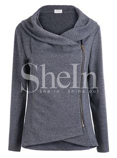 SheIn offers Dark Grey Long Sleeve Asymmetric Zip Outerwear & more to fit your fashionable needs. Swimsuits For Teens, Bikini Ready, Outerwear Women, Swimwear Fashion, Mantel, Style Me, Autumn Fashion, Women's Fashion, Cute Outfits