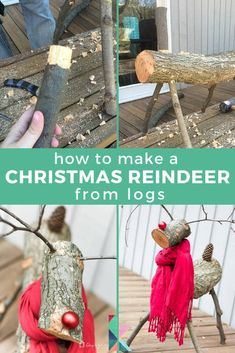 Getting ready for Christmas, here's a an easy and quick DIY Christmas reindeer tutorial. Diy Christmas Reindeer, Wood Reindeer, Red Christmas Ornaments, Christmas Wood, Diy Christmas Gifts, Christmas Projects, Holiday Crafts, Log Raindeer, Christmas Garden