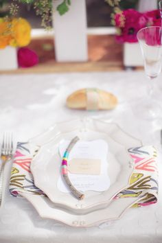 #place-settings, #napkins  Photography: This Love of Yours Photography - thisloveofyours.com Design + Planning: Engaged & Inspired - engagedandinspired.com Floral Design: Huckleberry Karen Designs - huckleberrykarendesigns.com  Read More: http://www.stylemepretty.com/2013/08/01/holman-ranch-photo-shoot-from-engaged-inspired-this-love-of-yours-photography/
