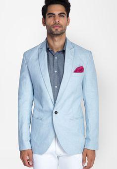 the latest 1037c 1a375 Buy MR BUTTON Ice Blue Linen Blazer Online - 2537946 - Jabong