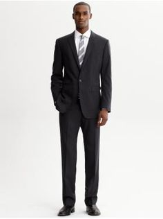 br monogram navy italian wool one-button suit