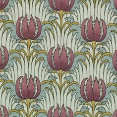 MODA Cotton Quilting Craft Fabric - Reproduction 1890 1910 Bird Tulip Aqua CF Voysey - Morris Modernized by Barbara Brackman 8264 11 Textiles, Textile Patterns, Textile Design, Print Patterns, Floral Patterns, Motifs Art Nouveau, Art Nouveau Design, Arts And Crafts Storage, Arts And Crafts House