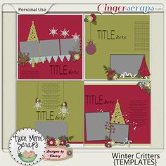 $2 Tuesday by TwinMomScraps! Winter Critters TEMPLATES; http://store.gingerscraps.net/Winter-Critters-TEMPLATES.html. 12/11/2013