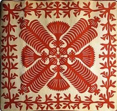 QUEEN KAPI'OLANI'S FAN QUILT, early 20th century (Hawaii) .  A good photo.  A single-piece applique feather and fan design in red on white background with floral applique border. It has close contour hand-quilting.  American Museum Bath: Classic Quilts Research; photo by feesiebaby (UK)