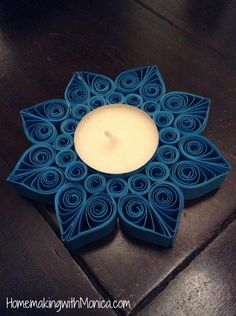 DIY Quilled Tealight Candle Holder
