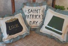 Primitive ST PATRICK'S DAY Bowl Filler Pillows Crows Shamrock Irish Flag Ornies  #NaivePrimitive #artist