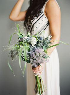 Unique Outdoor Wedding with DIY Bouquet via oncewed.com #wedding #bride #bouquet #wildflowers #purple #thistle