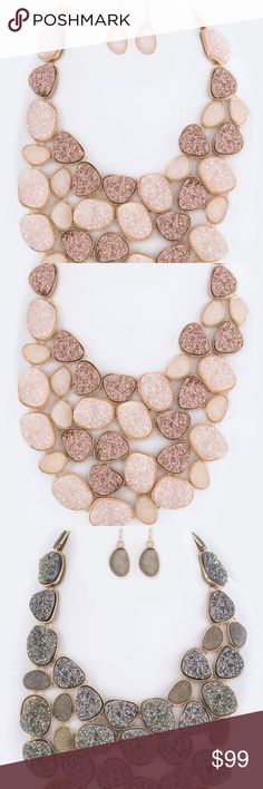 """Druzy Pebble Statement Necklace Set Druzy necklace  Necklace - 20"""" + Extension Earrings - 1.5"""" Drop Lead & Nickel Compliant  This item ships in 5 days. Please ask availability before purchasing.  From our warehouse 10 miles away from me.  Me and my partner share the same store/items.  She has brick and mortar store, I do online like this. Jewelry Necklaces"""