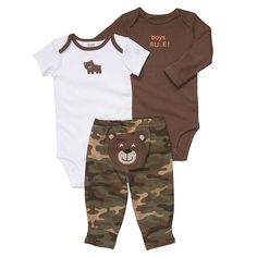 cute baby boy outfit bears and camo :) (image found at babiesrus.com)