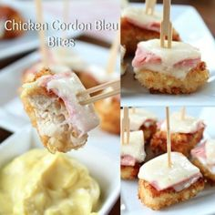 Chicken Cordon Bleu Bites - These crispy, crunchy bites of deliciousness are so tasty and would be a great appetizer to serve at your next game day party! Appetizer Sandwiches, Mini Appetizers, Finger Food Appetizers, Appetizer Recipes, Crackers Appetizers, Christmas Appetizers, Healthy Appetizers, Frango Chicken, Healthy Low Calorie Meals