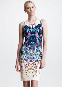 Blue Sleeveless Symmetric Floral print Dress