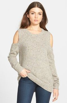 Free shipping and returns on Rebecca Minkoff 'Page' Cold Shoulder Sweater at Nordstrom.com. Hints of vibrant hues subtly mottle the wool-blend knit of a cold-shoulder sweater cut with extra-long length and slouchy sleeves for a laid-back look.