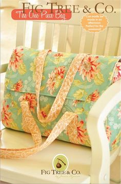 """Looking for a pattern for a great weekend bag? Fig Tree & Co.'s The One Piece Bag can easily be made in an afternoon. Finished dimensions are approximately 13""""x17"""". Want to buy your fabric with the pa"""