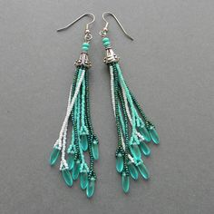 Turquoise seed bead earrings par Anabel27shop sur Etsy