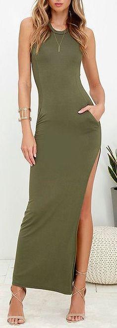 Shield and Sword Olive Green Sleeveless Maxi Dress