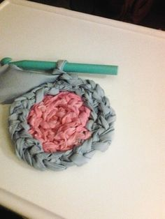 Cinderella Themed crocheted rag-rug. For granddaughter Lillian's room.