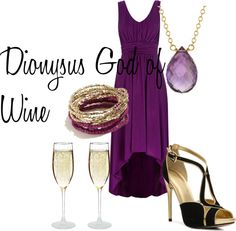 Dionysus by rmbuskey featuring a high low dress (there are a ton more PJO gods and goddesses on this website, i'm only pinning some of them)    Wallis high low dress / Audrey Brooke platform heels / Marie Todd amethyst necklace / GUESS  jewelry / ETCHED CHAMPAGNE FLUTES - SET OF 2 | custom glass | UncommonGoodsRequested by http://theepicmerp.tumblr.com/