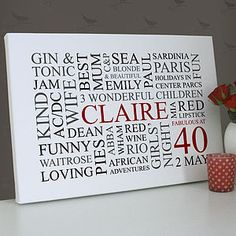 Personalised 40th Birthday Word Art - paintings & canvases
