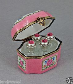 NEW FRENCH LIMOGES BOX PERFUME PINK FLORAL CHEST  SCENTER JEWELED BOTTLES