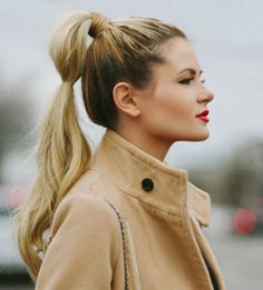 Twisted classic ponytail is one of easy school hairstyles for long hair